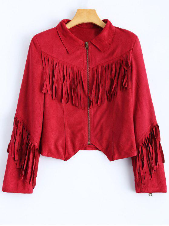 latest Tasselled Cropped Faux Suede Jacket - RED 2XL