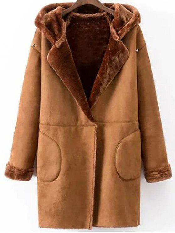 Hooded Faux Shearling Coat CAMEL: Jackets & Coats L | ZAFUL