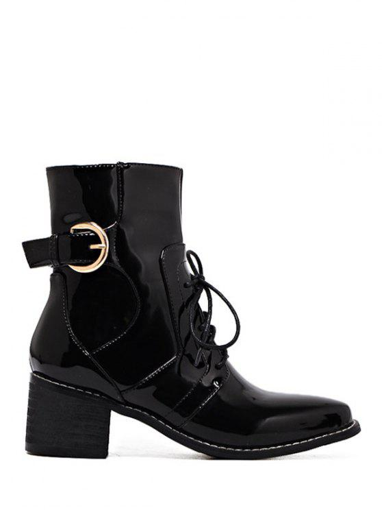 affordable Buckle Patent Leather Combat Boots - BLACK 37