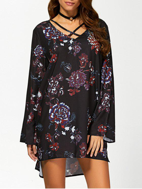 hot Floral Print Long Sleeves Tunic Dress - BLACK S