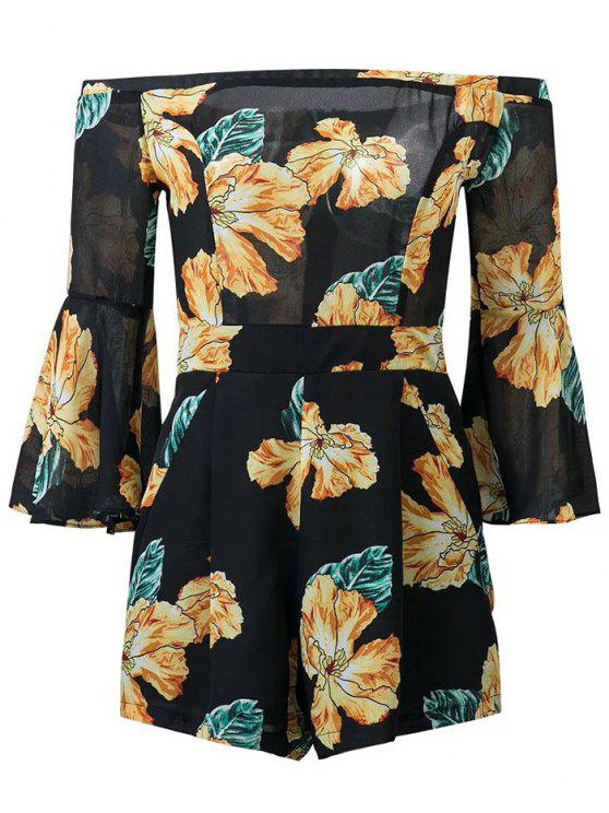 outfits Floral Print Off  Shoulder Romper - BLACK L