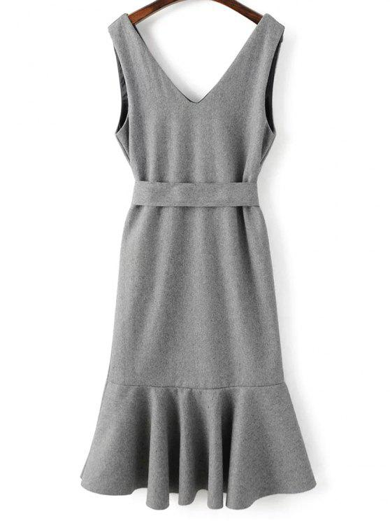 unique Sleeveless Peplum Hem Wool Blend Dress - GRAY M