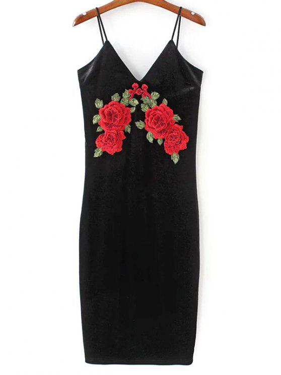 buy Embroidered Velvet Cami Vintage Dresses - BLACK M