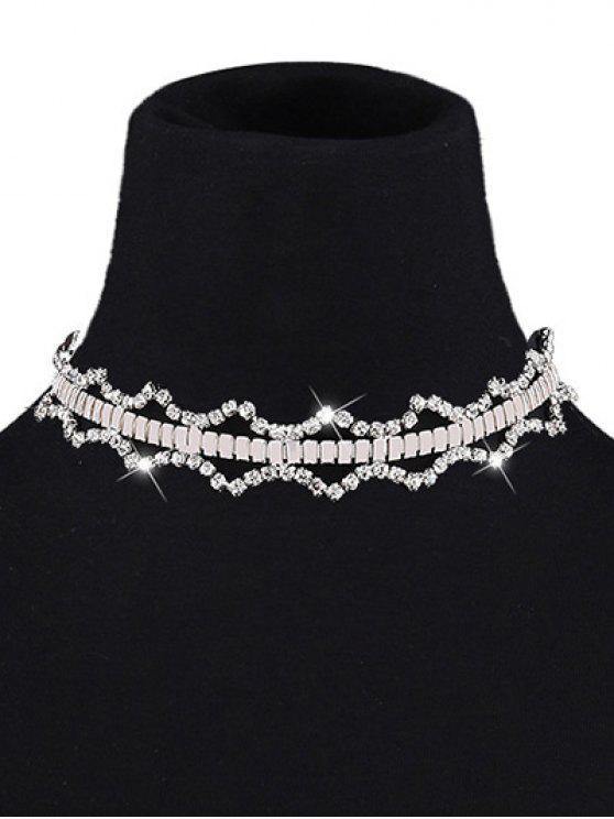 Geometrische Rninestone Halskette - Weiß