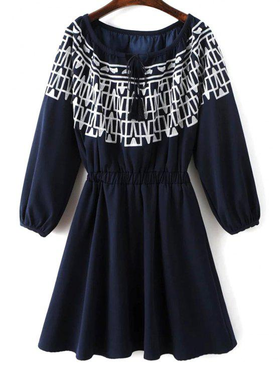 chic Contrasting Embroidery Long Sleeve Dress - MIDNIGHT S