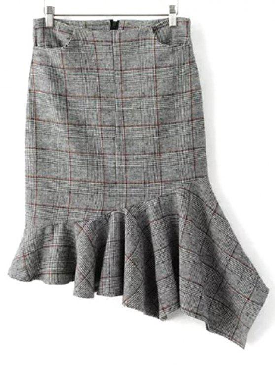 A cuadros mezcla de lana falda sirena - Gris M