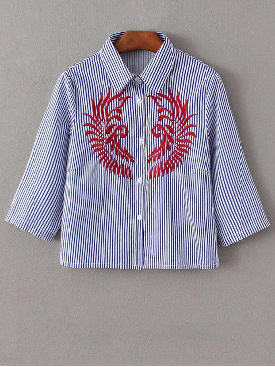 Chemise croppée brodée rayée à manches mi-longues - Bleu et Blanc S
