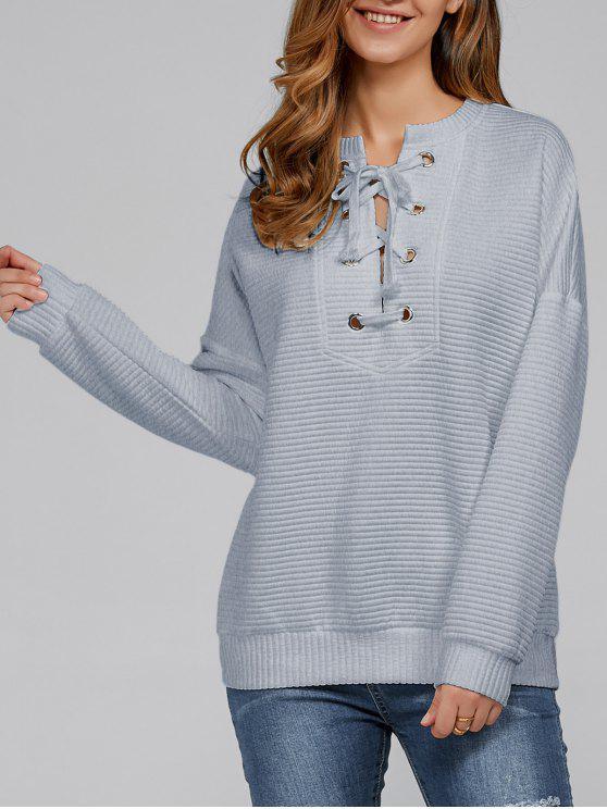 Acanalado con cordones de la camiseta - Ahumado gris XL