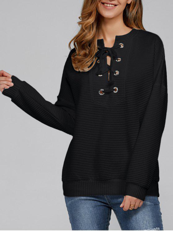 Sweat-shirt à Lacets Côtelé - Noir XL