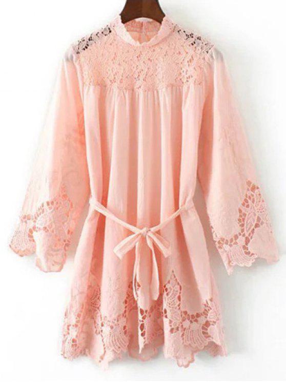 8b0c58650 28% OFF] 2019 Belted Lace Spliced Mini Dress In PINK | ZAFUL United ...