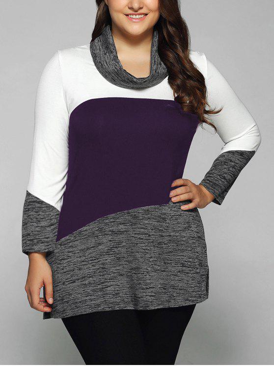 Heathered cuello de la capucha del tamaño extra grande de la blusa - Morado XL
