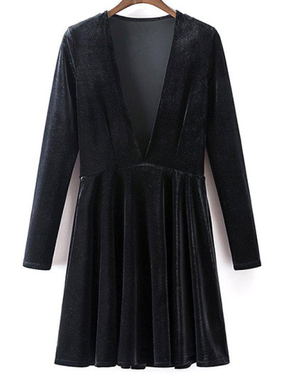 Terciopelo una línea de vestidos - Negro S