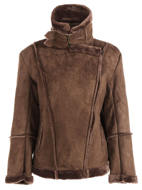 latest Faux Shearling Jacket - COFFEE 2XL