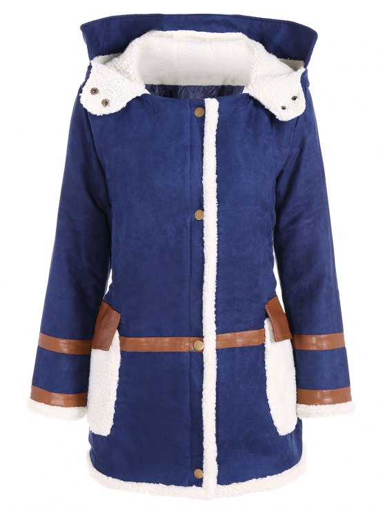 Manteau rembourré en faux-suede à capuche - Bleu 2XL