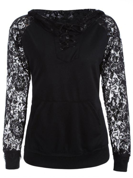 chic Lace Spliced Lace Up Hoodie - BLACK S