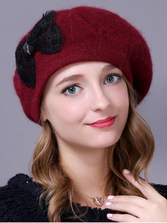 ladies Bowknot Knitted Slouchy Hat - CLARET