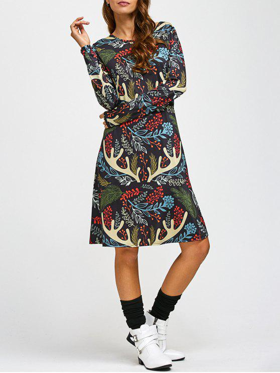 sale Christmas Leaf Antler Printed A Line Dress - COLORMIX ONE SIZE