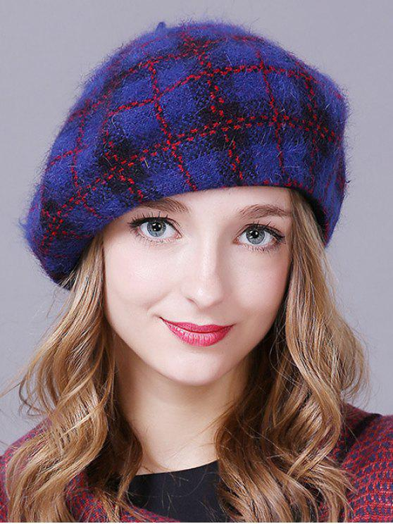 2018 Plaid Pattern Knitted Slouchy Hat In Deep Blue Zaful
