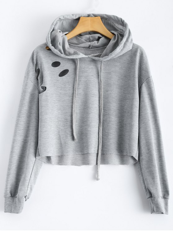 online Cut Out Polka Dot Cropped Hoodie - LIGHT GREY S