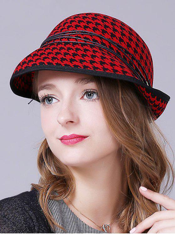 Pata de gallo en capas de la cuerda sombrero del invierno - Rojo