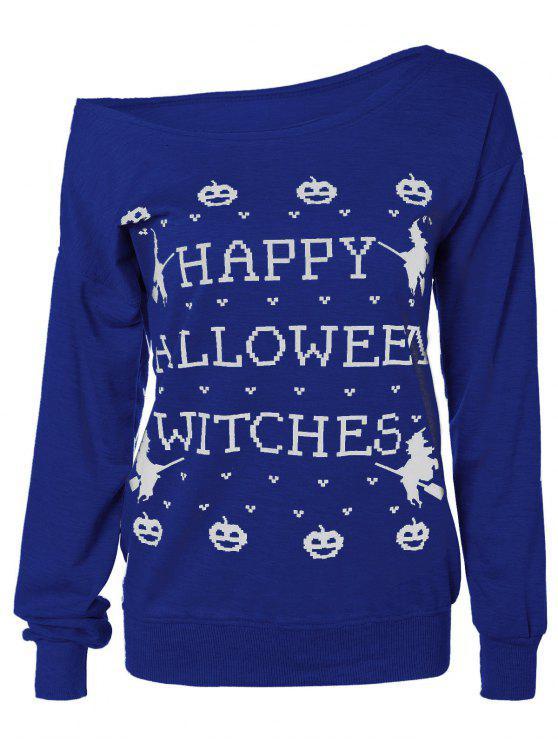 hot Letter Halloween Sweatshirt - BLUE S