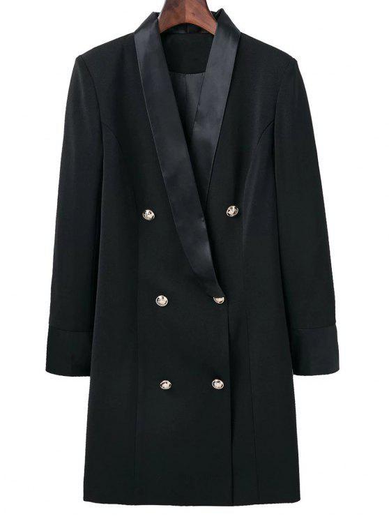 fashion Shawl Neck Work Peacoat - BLACK S
