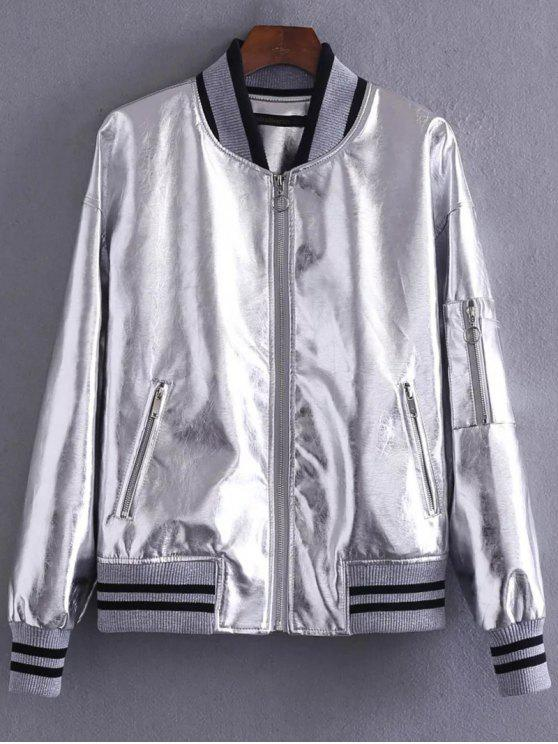 outfits Metal Color Bomber Jacket - SILVER M