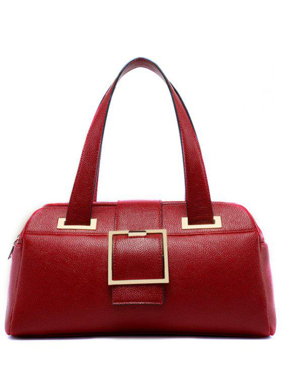 unique Buckle Strap Textured PU Leather Tote - RED