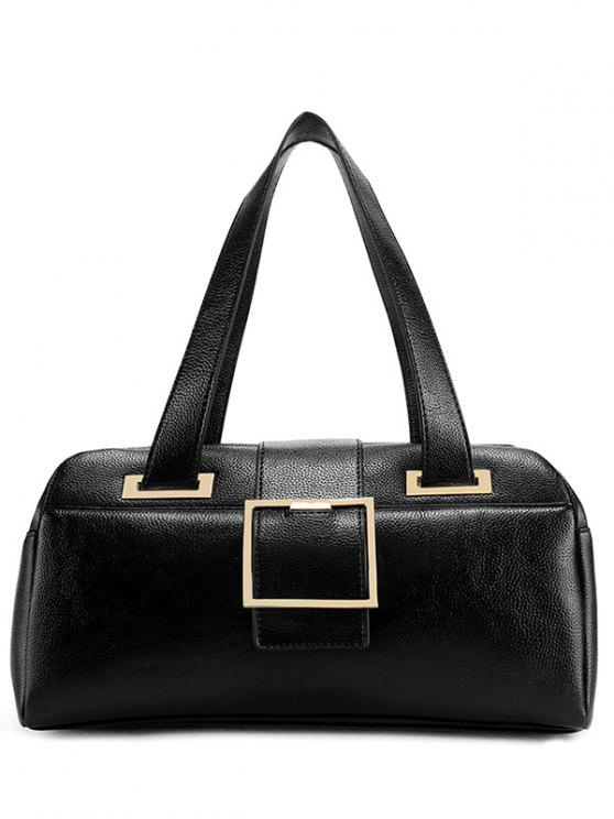 affordable Buckle Strap Textured PU Leather Tote - BLACK