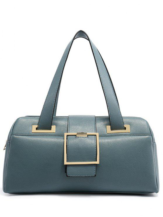 buy Buckle Strap Textured PU Leather Tote - LIGHT BLUE