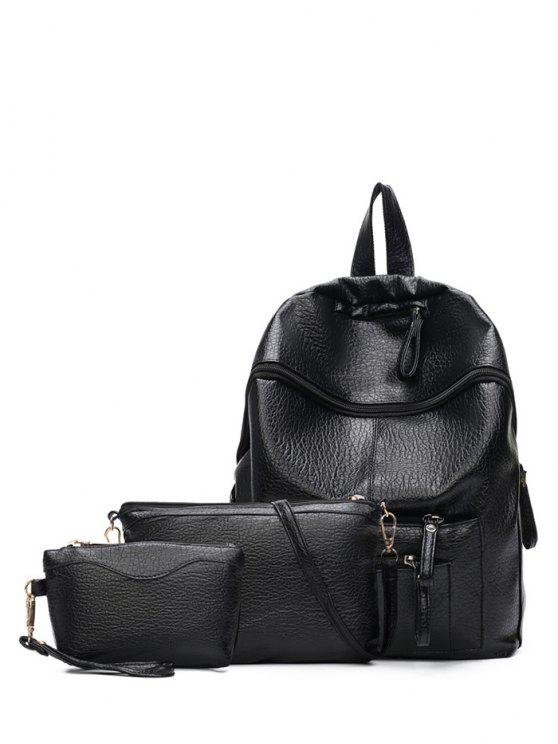 latest Pockets Zippers Textured Leather Backpack - BLACK