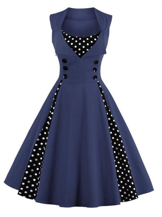Robe de Bal Midi Vintage à Pois - Bleu Violet XL