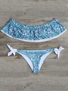 Off Shoulder Padded Tiny Floral Bikini - Blue Green L