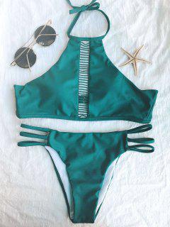 Ladder Crochet High Neck Bikini - Green S