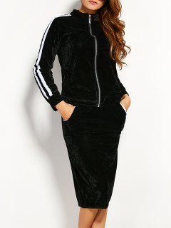 Pleuche Jacket With Pencil Skirt - Black S