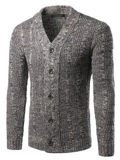 V-Neck Single-Breasted Knit Blends Cardigan - Gray M