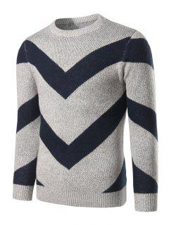 Crew Neck Striped Jacquard Pullover Heather Sweater - Light Gray L