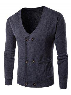 V Neck Double Breasted Knitting Cardigan - Gray M