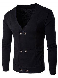 V Neck Double Breasted Knitting Cardigan - Black L