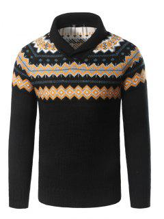 Turndown Collar Geometric Pattern Pullover Sweater - Black M