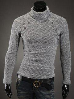 Botón Con Adorno Del Cuello Alto Suéter - Blanco 2xl
