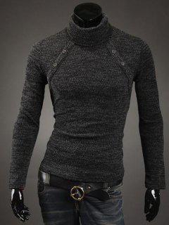 Botón Con Adorno Del Cuello Alto Suéter - Gris Oscuro M