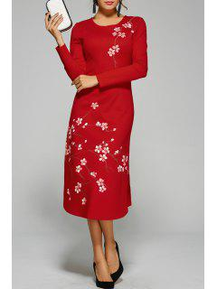 Midi Dress With Floral Print - Red S