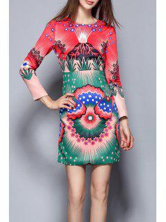 Fitted Print Mini Dress - Multicolor S