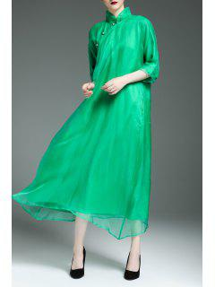 Flowy Swing Cheongsam Dress - Green 2xl