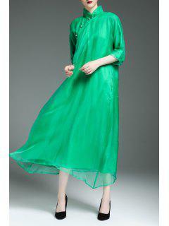 Flowy Swing Cheongsam Dress - Green M