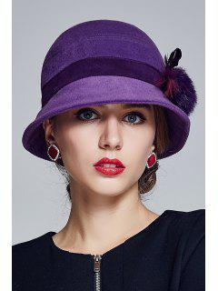 Outdoor Pom Ball Feather Felt Cloche Hat - Purple