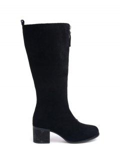 Zip Up Chunky Heel Mid Calf Boots - Black 38