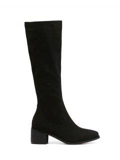 Zip Up Chunky Heel Knee High Boots - Black 38