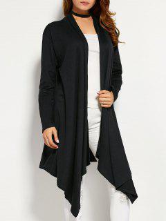 Drape Front Asymmetric Cardigan - Black L